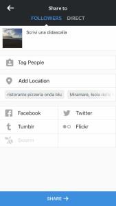 aggiungi didascalia, tagga persone, seleziona social, aggiungi luogo su instagram