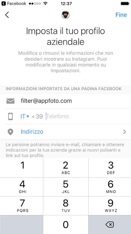 Impostazioni profilo aziendale instagram