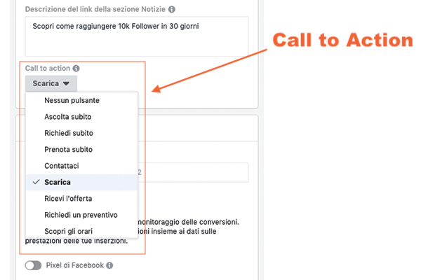 Call to Action su inserzione