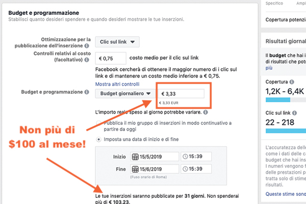 Controlli relativi al costo Facebook advertising